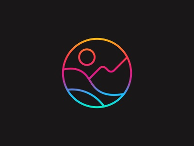 The Moment abstract mountain ocean gradient mnimal nature icon illustration