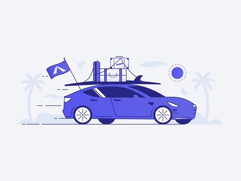 Moving on avinew illustration icon flag luggage surf insurance auto car tesla ocean beach travel