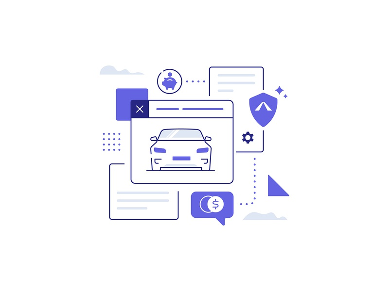 Avinew App insurance tesla auto car savings icon illustration app technology