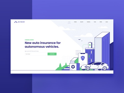 Avinew Homepage avinew icon ux ui auto insurance car tesla city vector minimal illustration