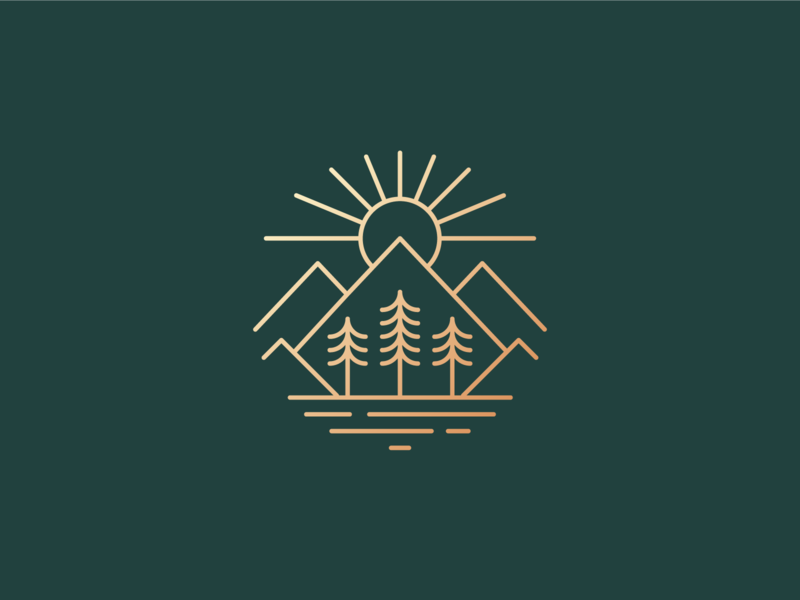 Lake views sun mountain tree illustrator illustration josh warren nature vector icon minimal