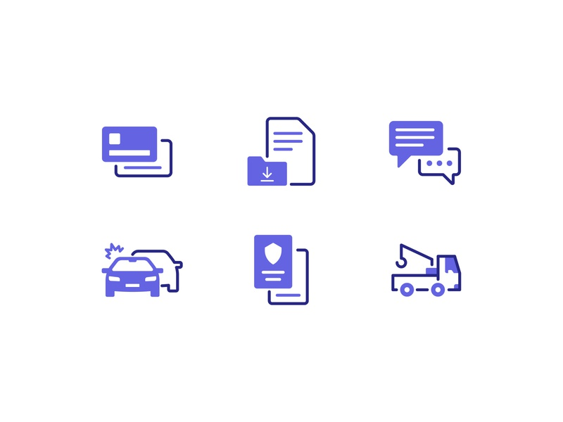 Auto Insurance icons minimalist iconography icons minimal autonomous tow truck support accident chat claims insurance