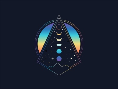 Phased gradient apparel minimal vector icon illustration stars abstract mountain nature