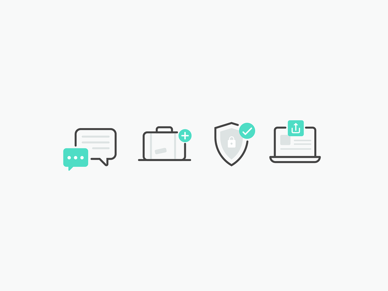 Travel travel upload privacy suitcase chat ux illustrator ui design minimal vector icon illustration