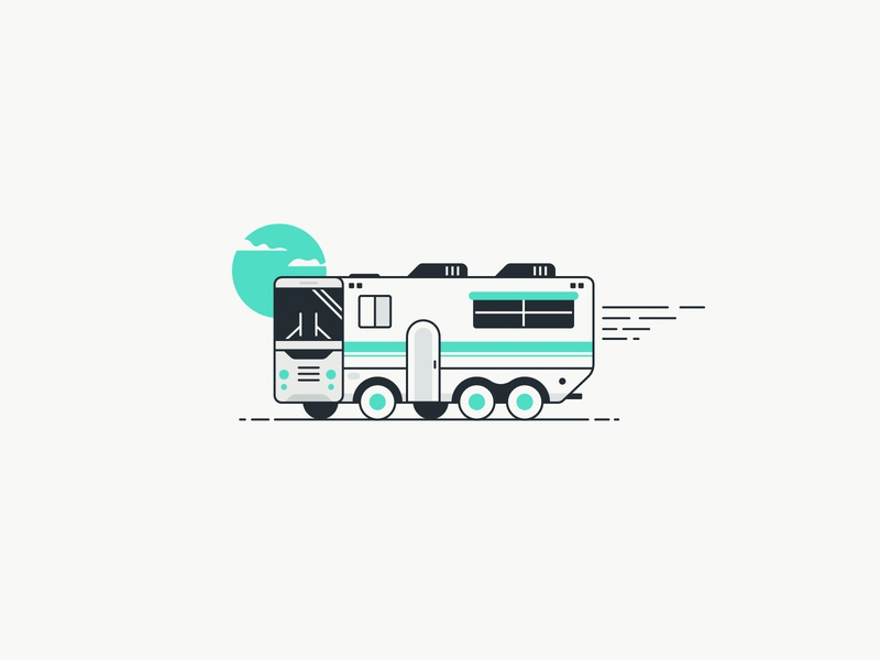 Recreational Vehicle camping nature clouds sun vehicle highway illustration icon travel
