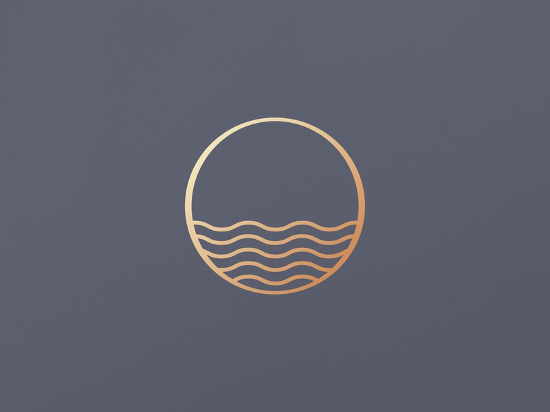 Summer's end nature minimal waves sun illustration branding logo icon