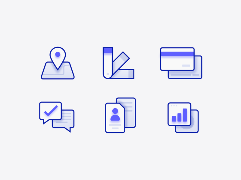 Depth icons minimal illustration iconography data chart growth id messaging credit card payment design art icon location