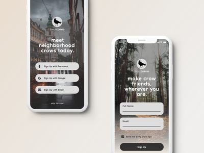 DailyCorvid // Sign Up ui email signup corvid crows mobile ios signup signup screen dailyui 001