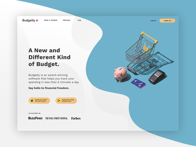 Budgeting App // Landing Page design logo branding landingpage fintech dailyuichallenge dailyui dailyui 003