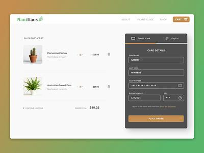 PlantHaus // Checkout Page credit card checkout desktop dailui plants dailyui 002 dailyui credit card payment shopping cart checkout page checkout form checkout