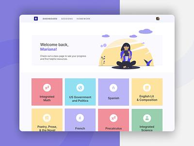 Emile Student Dashboard remote learning learning student dashboard figma desktop ui education app education ui