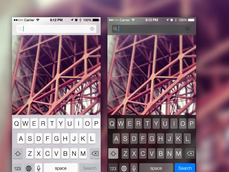 iOS 7 Components keyboard search status bar ios7 screenshots assets vector ai freebie