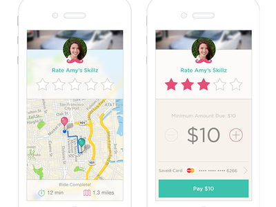 Rate & Pay Screens rate map pay success ios mobile drive