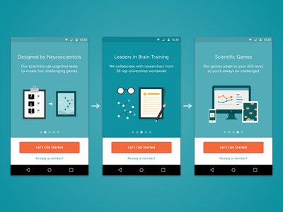 Lumosity Android Carousel onboarding mobile android lumosity carousel