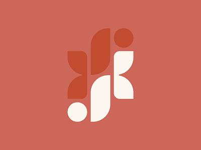 JK Monogram vintage k j letterforms illustration typography monogram vector