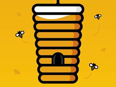 (BEE)R. identity branding pint glass honey bees yellow illustration beer
