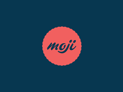 Moji Coffee & More badge script blue red branding identity brand logo