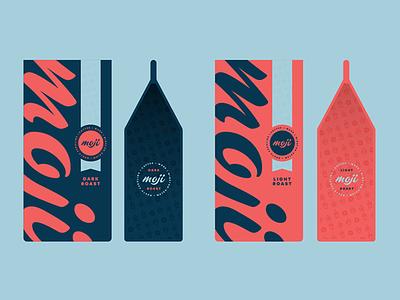 Moji Packaging vector packaging coffee badge script blue red branding identity brand logo