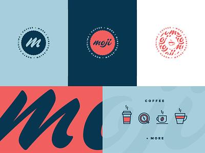 Moji Bugs vector badge script blue red branding identity brand logo