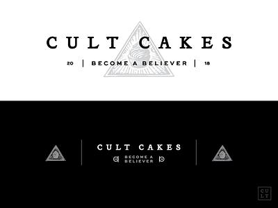 Cult Cakes bakery cupcakes illuminati serif white black branding identity brand logo