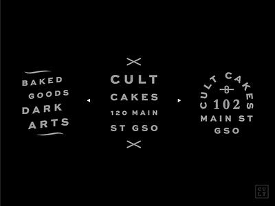 Cult Cakes II bakery cupcakes illuminati serif white black branding identity brand logo