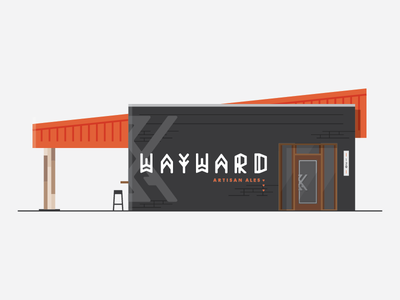 Wayward II building typography brewery beer orange white black branding identity brand logo