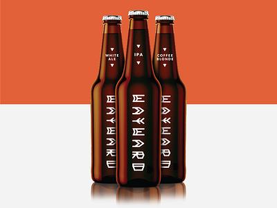 Wayward III bottle typography brewery beer orange white black branding identity brand logo