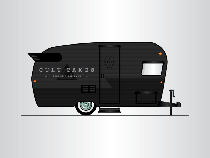 Cult Cakes III vector retail truck mobile black illustration identity trailer brand logo