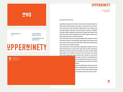 UpperNinety II white blue orange design brand logo vector type identity branding typography