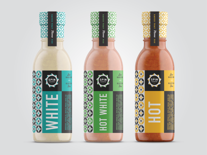 Spin Sauce II labels bottle sauce packaging pattern branding logo vector identity brand