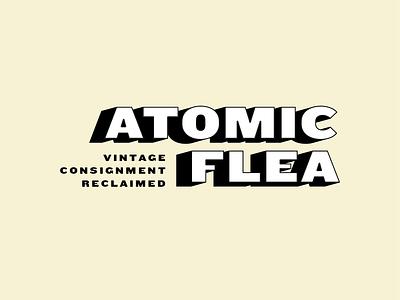 Atomic Flea black white vintage typography apparel clothing branding identity logo brand