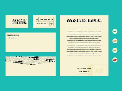 Atomic Flea III business clothing letterhead envelope card collateral branding noir vintage logo vector identity brand