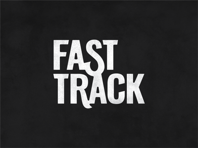 Fast Track monochromatic points anchor identity brand white black typography vector illustration lettering