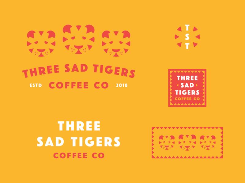 Three Sad Tigers red orange branding icon typography coffee tiger illustration logo identity brand