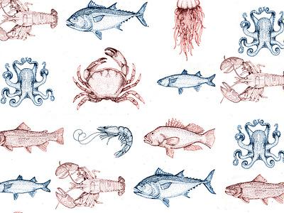 Sea Creature Pattern hand drawn octopus jellyfish fish marine life marine sea animals sea creatures sea creature ocean print pattern animal sea seafood illustration
