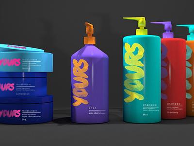 Yours Beauty Branding & Packaging bottle package brand eco environmentally friendly vibrant bright colorful colourful color colour environmental packaging branding logo design graphic design