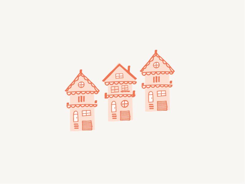Little Houses hand-drawn illustration