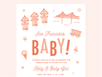 San Francisco, Baby! illustration invitation design invite