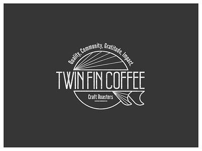 Twin Fin Coffee surf coffee retro vintage logo