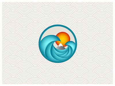 Fuji Wave gradient wave fuji japan illustration