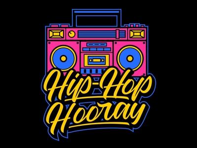 Boombox& hip-hop handlettering illustration