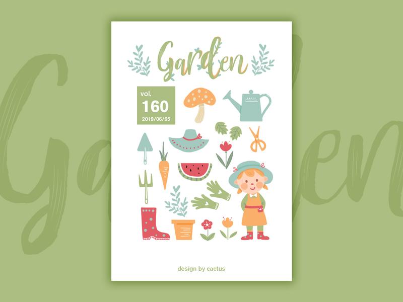 Garden garden paint girl web drawing typography illustration design