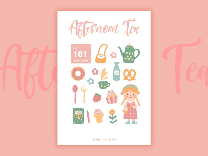 Afternoon Tea afternoon tea cake girl paint drawing typography illustration design