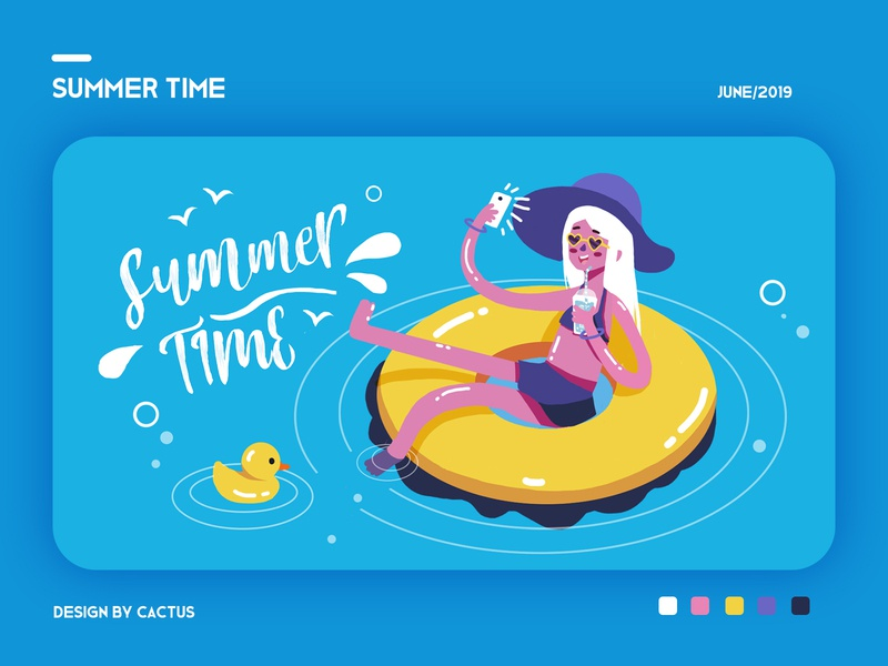 summer time duck summertime girl paint drawing typography illustration design