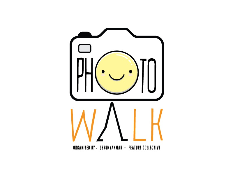 Photo Walk logo photo walk smile walk camera