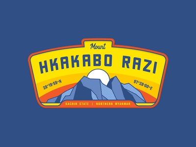 Mt Hkakabo Razi mountain nature landscape myanmar illustration patch badge