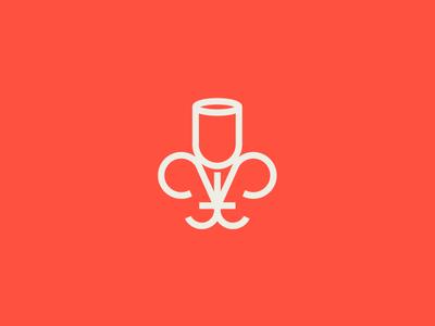 Fleur de Glass minimal illustration icon logo bar glass flower french fleur de lis