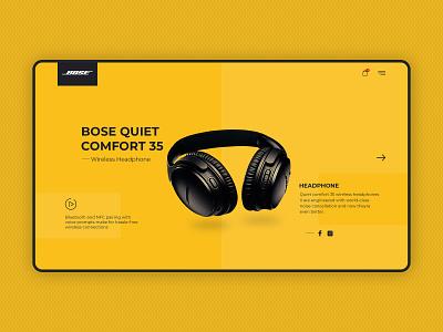 Headphone Landing Page Design typography ux graphic design branding creative vector illustration webdesign uxdesign uidesign ui