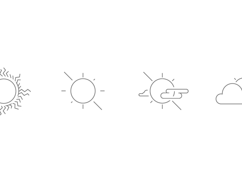 Weather Icons... Seriously!  line art lightning drizzle storms thunder cloudy cloud rain sunny sun weather