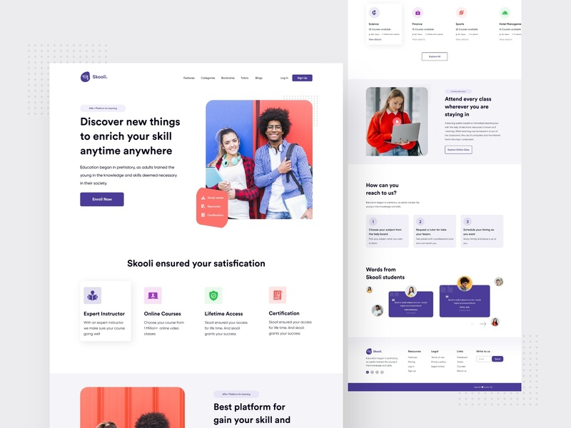 Skooli ll Education landing page concept e learning class school education website education 2020 trend 2020 templates colorful clean ui web templates web typography landing page ui design